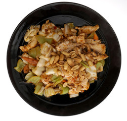 Chinese food. Chicken with peanuts and vegetables