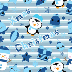 Seamless background of Christmas illustration with cute penguin, bell, gift, and star on stripes background suitable for Children Xmas Wallpaper, Scrap paper, and postcard