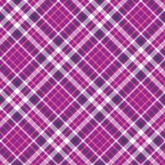 Seamless tartan plaid pattern. Vector checkered wallpaper print. Tartan design in pink, dark purple & white stripes on fuchsia pink background.