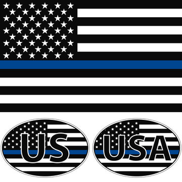 An American flag symbolic of support for law enforcement, USA flag with a blue stripe center, sticker vector