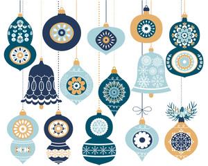 Set of blue retro Christmas ornaments, Hanging decoration