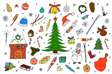 Hand drawn christmas elements in doodle style.