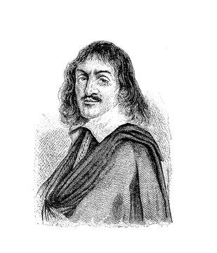 René Descartes French philosopher and scientist, vintage engraving portrait