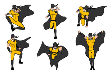 Hand drawn vector illustration. Superhero models in various poses.