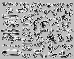 Hand drawn set of design elements