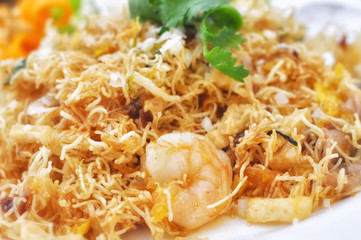 Mixed Crispy Rice Noodle with shrimp or Mi krop Srong Kreung in Thai language, Thai style food concept