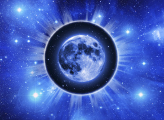 Wall Mural - Moon in a light circle over starry Universe like a concept for Lunar astrology