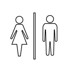 Vector man and woman icons, toilet sign, restroom icon, minimal style, pictogram