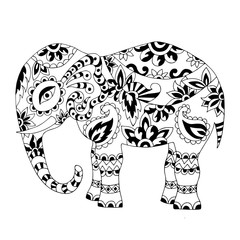 Hand drawn zentangle elephant