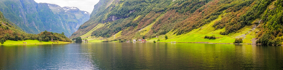 Panoramic view of  the banks of the Aurlandsfjord in Norway