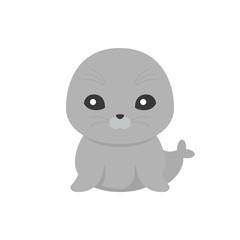 cute seal cartoon character, flat design vector