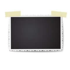 Realistic vector photo frame with retro figured edges