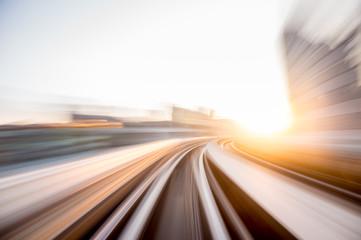 Keuken foto achterwand Nacht snelweg Speed motion in urban highway road tunnel