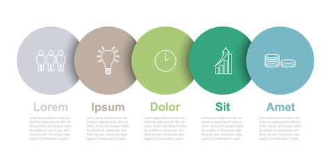 five step circle vector infographic template with icons Wall mural