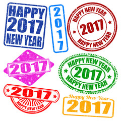 Set of 2017 new year grunge stamps, vector illustration