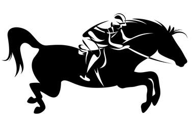 horseman riding a horse black and white vector design