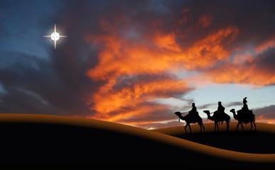 Reyes Magos, Navidad, desierto con cielo anaranjado, estrella