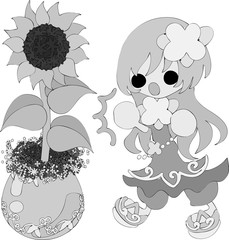 The illustration of sunflower and a cute girl