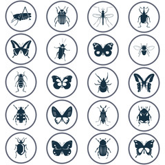 Different insects icons set for web and mobile design