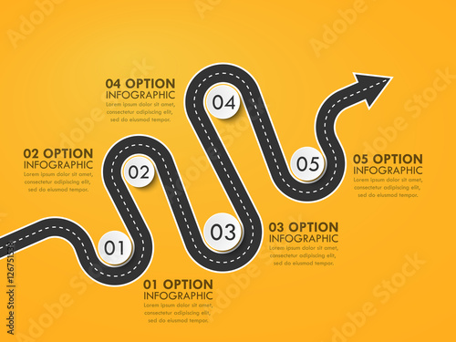 road way location infographic template with a phased structure winding road timeline stylish serpentine