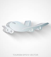 Vacation icon: extruded Metallic Airplane, EPS 10 vector.