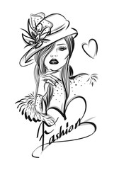 Beautiful woman line art illustration with accessories