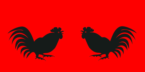 Black silhouettes fighting cocks on a red background