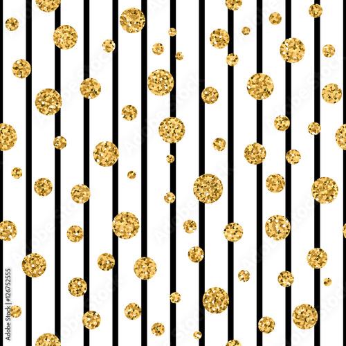 Gold Polka Dot On Lines Seamless Pattern Background Golden