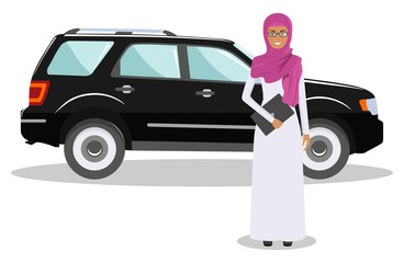Arab businesswoman standing near the car on white background in flat style. Business concept. Detailed illustration of automobile and saudi arabic woman. Flat design people character. Vector