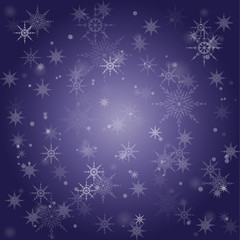 violet background containing falling snowflakes and snow