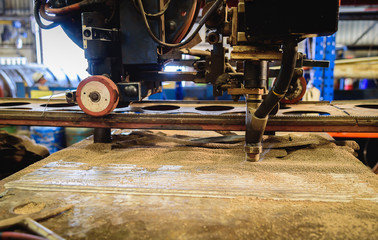 Submerged arc welding process in factory