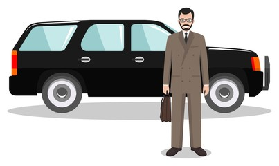 Businessman standing near the car on white background in flat style. Detailed illustration of automobile and man. Business concept. Flat design people character. Vector illustration.