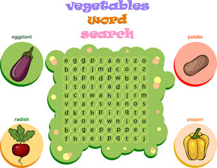 Logic game for learning English. Find the hidden words by vertic
