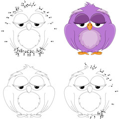 Cartoon owl. Coloring book and dot to dot game for kids