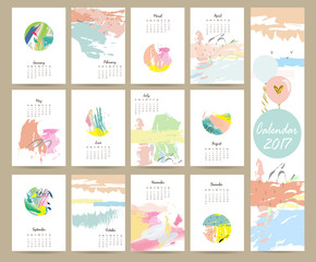 Colorful cute monthly calendar 2017 with pink,blue,green color.C
