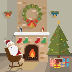 Christmas santa claus relax fireplace room vector