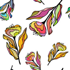 Seamless vector illustration of hand drawn colorful flowers. Good for textile, wrap or wallpaper.
