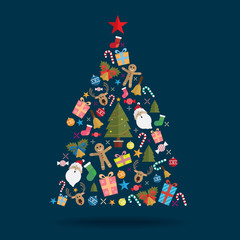 Christmas tree decoration icon vector