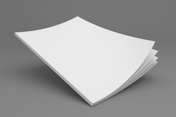 Blank flying 3D illustration magazine with opening pages showing spine.