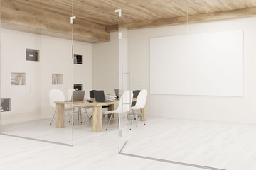 Conference room with glass walls and horizontal poster