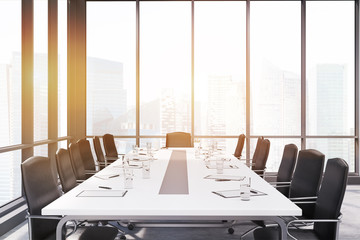 Long conference room table in panoramic windows room, toned