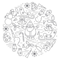 Vector illustration of different new year and christmas symbols