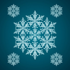 Snoflake_08 Christmas element: opaque crystal snowflakes on a dark turquoise background.