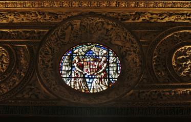 vidriera del Alcázar de Segovia  monumento,castillo,fortaleza , palacio real,  prisión estatal, centro de artillería ,academia militar y museo