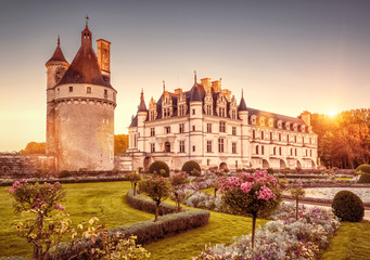 Fototapete - Chateau (castle) de Chenonceau at sunset, France