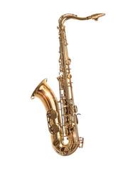 Golden Saxophone isolated on white.