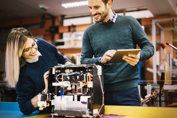 Robotics engineer students teamwork