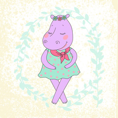 Hippo girl with closed eyes having a flower wreath on the head.