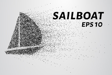 A sailing ship made of particles. The yacht consists of circles and points. Vector illustration