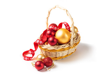 Basket with Christmas balls